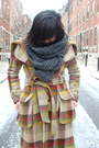 Teal-decree-coat-plaid-lamb-coat-studded-vince-camuto-boots