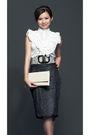 White-mylo-athena-blouse-gray-mylo-athena-skirt-silver-mylo-athena-belt-