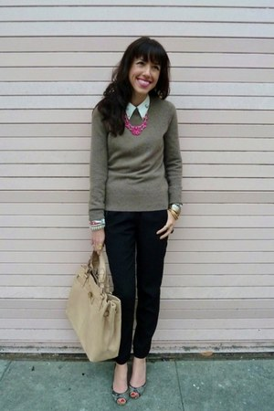 ivory Zara blouse - light brown Hayden sweater - neutral Reiss bag