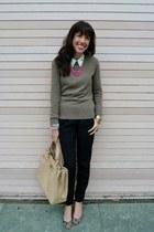 ivory Zara blouse - light brown Hayden sweater - neutral Reiss bag