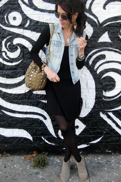 French Connection dress - Dolce Vita boots - deux lux bag - H&M vest