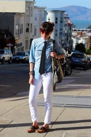 white Paige Denim jeans - bronze Steve Madden shoes - blue Jcrew shirt