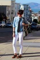 white Paige Denim jeans - bronze Steve Madden shoes - blue Jcrew shirt