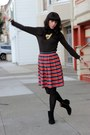 Black-nine-west-boots-cream-mms-bag-red-jcrew-skirt