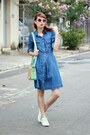 blue jeans Sheinside dress - aquamarine Mart of China bag