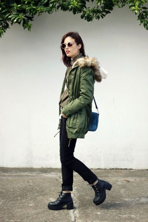 black romwe boots - army green parka romwe coat - olive green Hering shirt