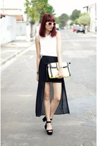 black cut out Sheinside skirt - white lace Sheinside shirt - yellow YOUCOM bag