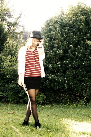 black menswear vintage hat - black H&M skirt - brick red striped Pimkie top