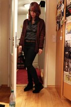 gray H&M shirt - crimson knit H&M cardigan - black H&M pants