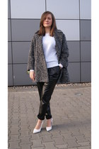 charcoal gray SH coat - black faux leather DIY pants - white Mango wedges