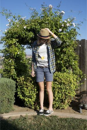 green thrifted shirt - Hurley shorts - Target hat - white coachella shirt - gray