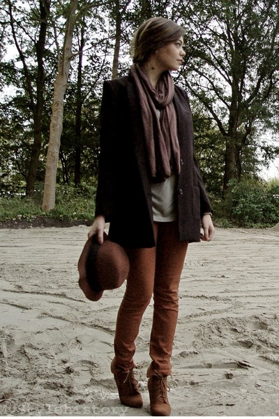 black H&M blazer - crimson SIX scarf - dark khaki H&M top