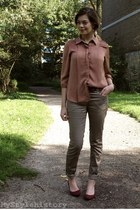 coral silky Zara blouse - light brown H&M pants - crimson suede H&M heels