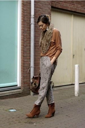 heather gray lace H&M pants - bronze New Yorker top - burnt orange Zara heels