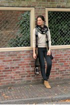 tawny dicker bullboxer boots - army green crochet DIY scarf - black H&M pants