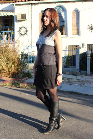 slouchy Aldo boots - stiped papaya dress