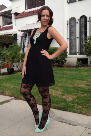 black baby doll Forever 21 dress - black lace Forever 21 stockings