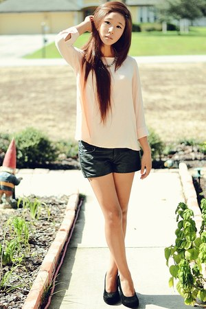 leather shorts - suede Urban Outfitters wedges - Urban Outfitters top