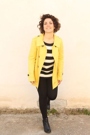 yellow Marella jacket - white striped sweater Zara sweater - black leggings