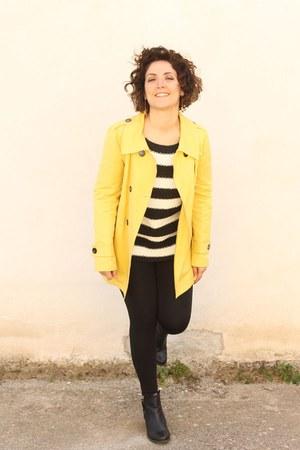 yellow Marella jacket - white striped sweater Zara sweater - black leggings