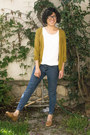 Navy-jeans-mustard-mossimo-cardigan-brown-loafers