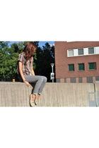 swap meet find jeans - vintage blouse - Burberry shoes