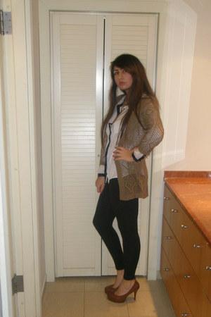 burnt orange H&O shoes - brown no name jacket - black Zara tights