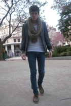 beige Uniqlo scarf - green NDC shoes - blue Cheap Monday jeans