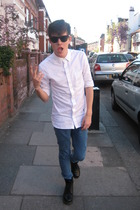 Wayfarer sunglasses - All Saints London shirt - Topman jeans - Doc Martens boots