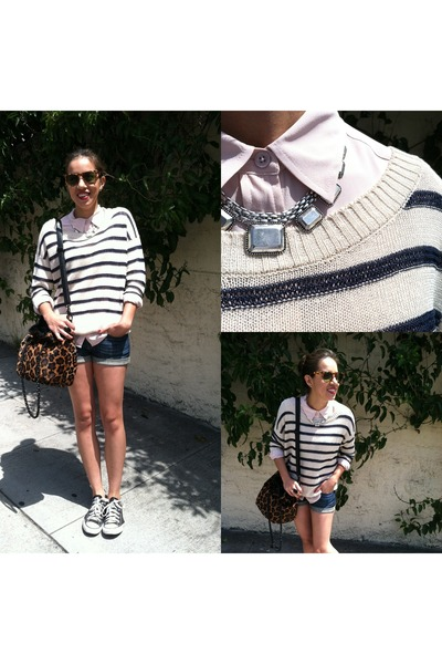 tawny leopard print Rebecca Minkoff bag - navy striped Kain Label sweater