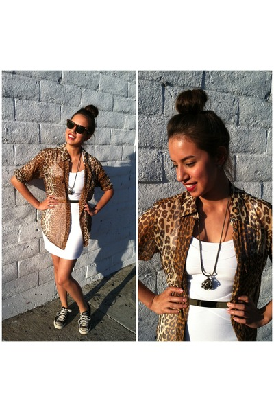 leopard print Equipment shirt - bandage Stretta dress - ManiaMania necklace