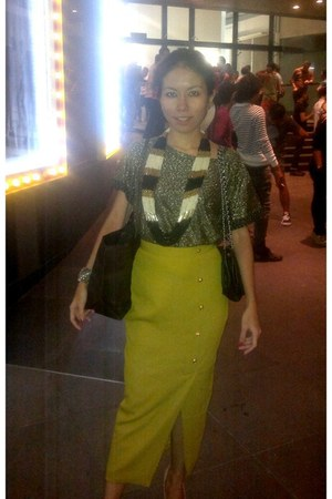 black chain Topshop bag - chartreuse skirt - f21 necklace