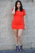 carrot orange Forever 21 dress - navy heels