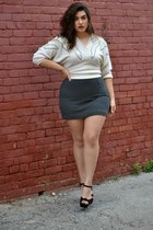 ivory sweater - gray skirt - black wedges