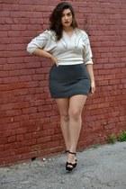 ivory sweater - gray skirt - black wedges