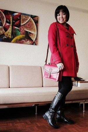 red Zara coat - black thrifted boots - black Dorothy Perkins dress