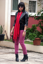 black random shirt - black NyLa jacket - purple Forever21 jeans - red rubi scarf