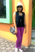 black random top - black Magnolia by Orange vest - purple Forever 21 jeans - whi