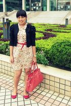 beige Natalie and Me dress - black Magnolia blazer - red Gaudi belt - red TLTSN