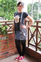 random t-shirt - random vest - DIY skirt - random tights - Converse shoes