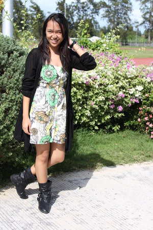 Swatch watch - leather Bonnibel boots - Forever 21 dress - Forever 21 necklace
