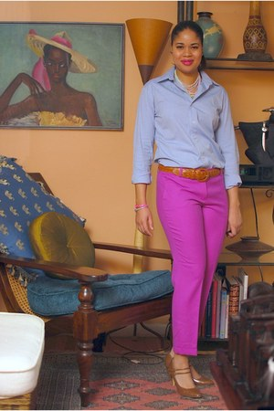 hot pink JCrew pants - blue American Apparel shirt