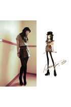 silver Topshop skirt - black Topshop boots - black Topshop hat