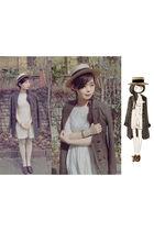 brown Topshop coat - beige Topshop dress - brown vintage shoes