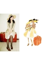 yellow hat - brown shoes - beige H&M coat