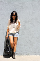 light blue denim H&M shorts - ivory Gap blouse