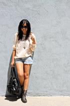 light blue denim H&M shorts - ivory Gap blouse