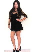 flower Forever 21 necklace - cheetah H&M blazer - black lace Forever 21 romper