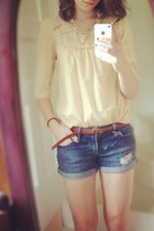 navy shorts - eggshell sheer top - ruby red braided belt - necklace