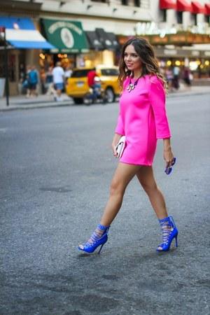 blue Shoedazzle shoes - hot pink Style Mafia dress - white Henri Bendel bag